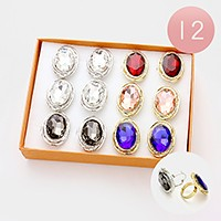 12 PCS- Chunky oval glass crystal rings