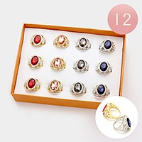 12 PCS - Assorted size pave trim oval glass crystal rings