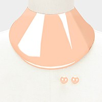 Wide metal armor collar choker necklace