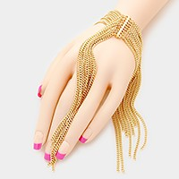 Fringe ornate hand chain bracelet