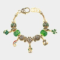 Multi-bead clover & green top hat charm bracelet