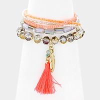 5 PCS - Tassel & feather charm beaded stack stretch bracelets