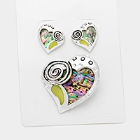 Abalone heart pendant set