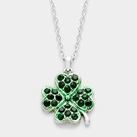 Pave clover pendant necklace