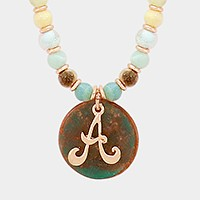 'A' Monogram pendant beaded long necklace