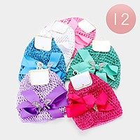 12 PCS - Crochet mesh bow hats