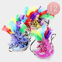 12 PCS - Indian feather Masquerade Half Masks