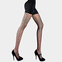 Seductive chevron net pantyhose tights