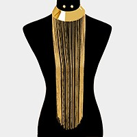 Metal fringe ornate bib choker necklace