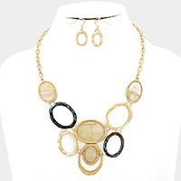 Mother of Pearl disc & hammered hoop link necklace