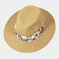 Tropical print band fedora hat