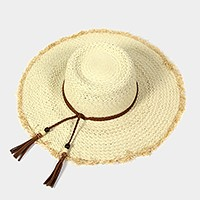 Frayed edge floppy sun hat with braided cord tassel
