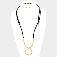 Twisted metal hoop & faux leather necklace