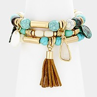 3 PCS - Tassel & mother of pearl charm turquoise bead strand stretch bracelets
