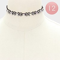 12 PCS - Felt back crystal choker necklaces
