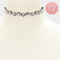 12 PCS - Felt back crystal chevron choker necklaces