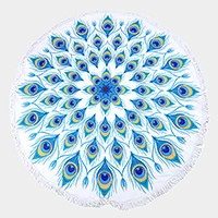 Peacock feather _ Round beach terry towel