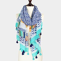 Multi-pattern scarf with tassels