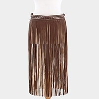 Long faux leather fringe skirt belt
