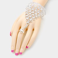 Rhinestone bubble net open hand chain bracelet
