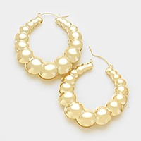 14K gold plated embossed hoop pin catch earrings
