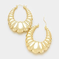 14K gold plated embossed oval hoop pin catch earrings