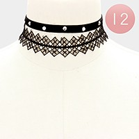 12 Sets - Crystal stud velvet + lace choker necklaces
