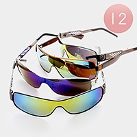 12 Pairs - Sleek one piece mirror sunglasses