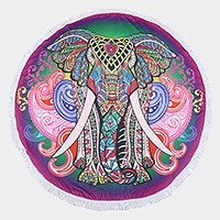 Elephant _ Round beach terry towel