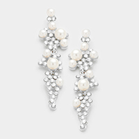 Crystal embellished pearl statement earrings