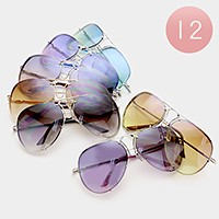 12 Pairs - Gradient aviator sunglasses