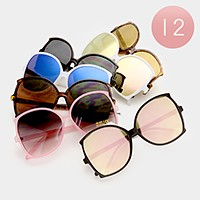 12 Pairs - Oversized mirror sunglasses