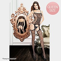 Floral print lace bodystocking with straps, attached garters and stockings
