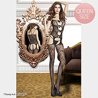 Floral pattern fishnet bodystocking with satin bows