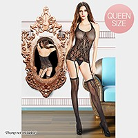 Vine print halter neck bodystocking with garters and stockings