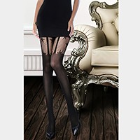 Star pattern net faux garter strap pantyhose tights