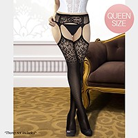 Floral large lace top attached garters belt thigh high stockings