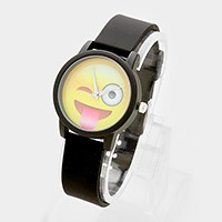 Winky tongue out emoji _ silicone strap watch