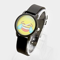 Crying laughing emoji _ silicone strap watch