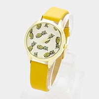 Pineapple _ faux leather strap watch