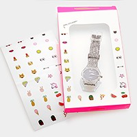 Glitter silicone strap watch with stickers