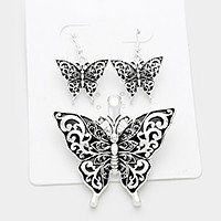 Magnetic filigree butterfly pendant set