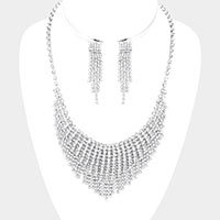 Curved Rhinestone Necklace