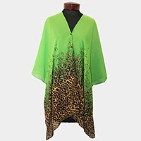 Leopard pattern multi-way cover up with buttons