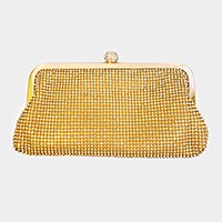 Crystal mesh evening clutch bag with strap