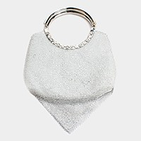 Metal bar handle crystal mesh evening bag