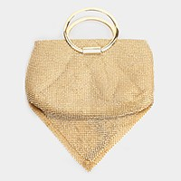 Metal hoop handle crystal mesh evening clutch bag