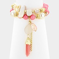 2 PCS - Tassel & natural stone charm beaded stretch bracelets