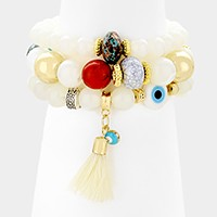 3 PCS - Tassel & evil eye charm beaded stretch bracelets