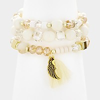 3 PCS - Tassel & wing charm beaded stretch bracelets